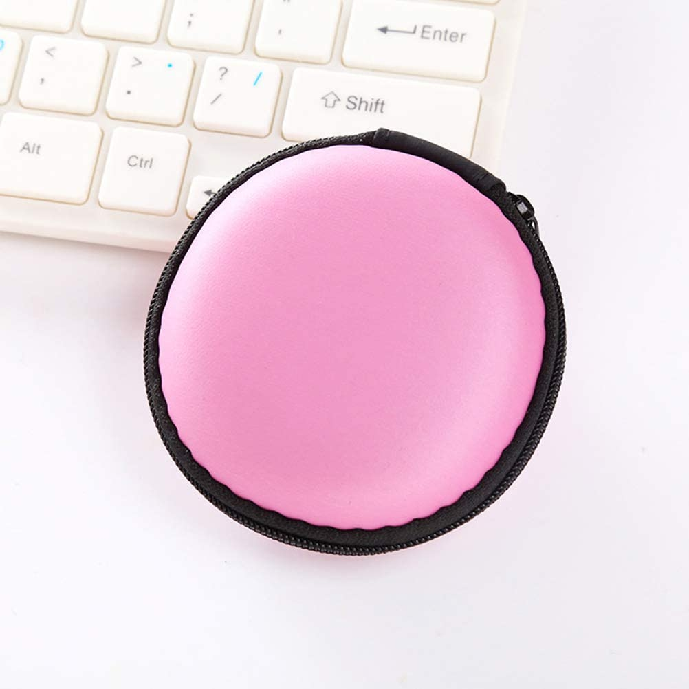 Multi-use PU Leather Earphones Bag USB Cable Earbuds Storage Case Travel Organizer Pouch Pink