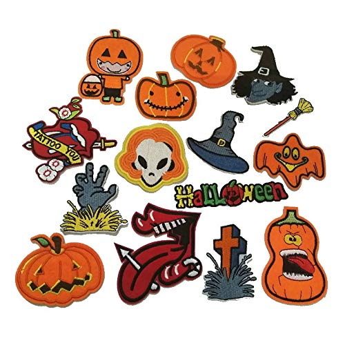 Halloween Set Patches for Clothing Iron on Applique Parches Ropa Pumpkin Stickers for Garment Accessories Gift Embroidery Patch 15 pcs -