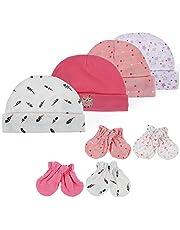 Lictin 4 PCS Newborn Baby Caps Hats & 4 Pairs Newborn No Scratch Mittens Glove