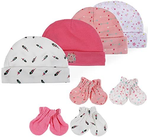 Lictin Newborn Baby Cotton Caps Mittens 100/% Cotton 4pcs Baby Cotton Caps Hats and 4 Pairs Baby Scratch Mittens Gloves for Baby Girl 0-6 Months Pink