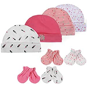 Lictin Newborn Baby Cotton Cap Mitten - 100% Cotton 4pcs Baby Cotton Caps Hats and 4 Pairs Baby Scratch Mitten Gloves for Baby Girl 0-6 Months (Pink)