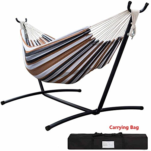 GREARDEN Double Hammock With Space Saving Steel Stand Includes Portable Carrying Case 450 Pounds Capacity Indoor or Outdoor Patio Yard and Porch Desert Stripe …