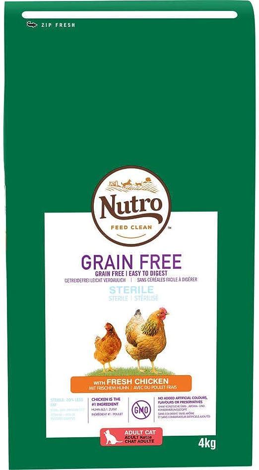 Pienso para Gato Nutro Grain Free Esterilizado Pollo 4 Kg: Amazon.es: Productos para mascotas