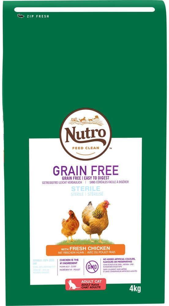 Pienso para Gato Nutro Grain Free Esterilizado Pollo 4 Kg: Amazon ...