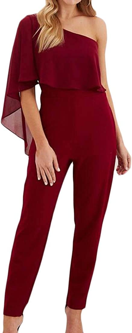 Lutratocro Womens Shawls Irregular Backless Work One Shoulder Jumpsuits