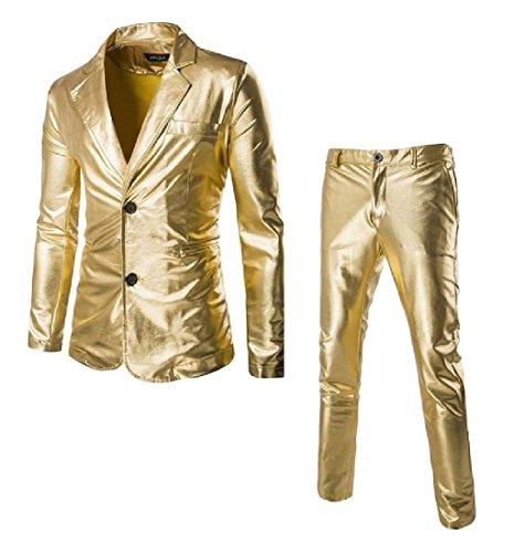 Kankanluck Men Simplicity Blazer Fashion Casual Shiny Sequins Business Suit Golden L