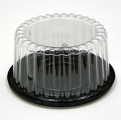 Pactiv 8' Black Cake base with 4' fluted dome for 6' cake Plastic Carry Container Display Box with Lid (pack of 12)
