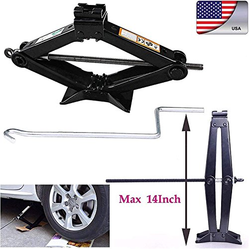 Heavy Duty Leveling Scissor Jack 2 Ton Tonne with Chromed Crank Speed Handle For RV Car Motorcycle Lifting by Bowoshen (Image #6)