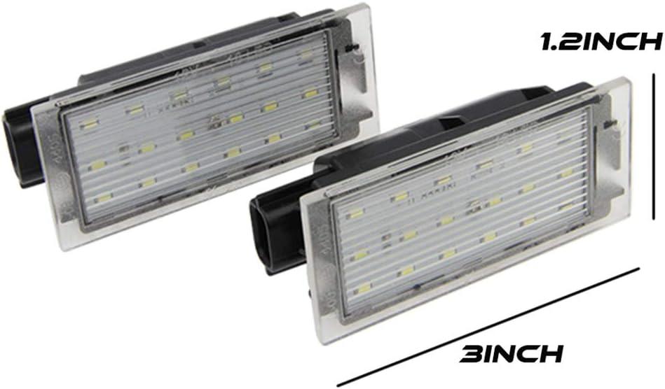 ELENXS 1 Paire LED Voiture Nombre Plaque dimmatriculation lumi/ère SMD 3528 de Remplacement pour Renault Megane 2 Clio Laguna 2 Megane 3