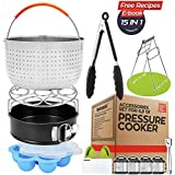 "Instant Pot Accessories 15 Pcs Large Steamer Basket Set Fit 6,8 Quart (Qt) Pressure Cooker, Egg Rack, 7"" Springform Pan, Egg Bites Mold, Oven Mitts, Cheat Sheet Magnet, Tong, Bowl Clip, Recipes EBook"
