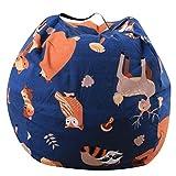 LooBooShop Cotton Toy Storage Bag Stuffed Animal Plush Toy Storage Bean Bag Soft Pouch Stripe Fabric Chair