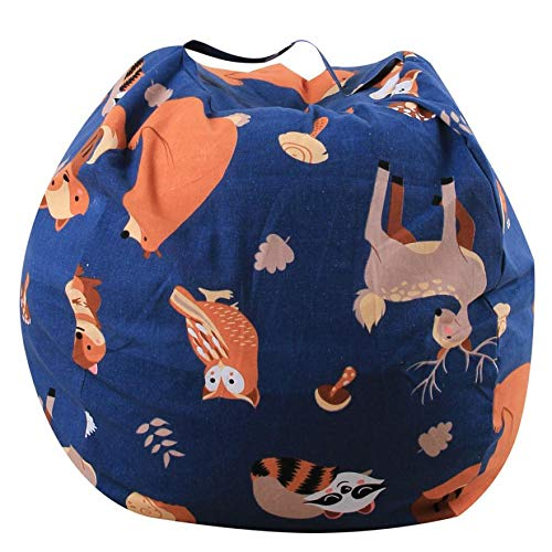 LooBooShop Cotton Toy Storage Bag Stuffed Animal Plush Toy Storage Bean Bag Soft Pouch Stripe Fabric Chair by LooBooShop