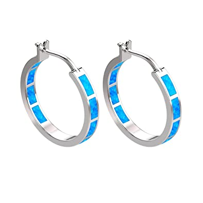 LANMPU Sterling Silver Spiral with Blue Green Fire Opal Inlay Drop Earrings for Women and Girls AjnFHRmi1Z