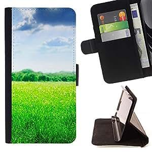 For Samsung Galaxy Note 4 IV Case , Naturaleza Hermosa Forrest Verde 103- la tarjeta de Crédito Slots PU Funda de cuero Monedero caso cubierta de piel