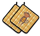 Caroline's Treasures BB6753PTHD Monkey Business Pair of Pot Holders, 7.5 x 7.5'', Multicolor