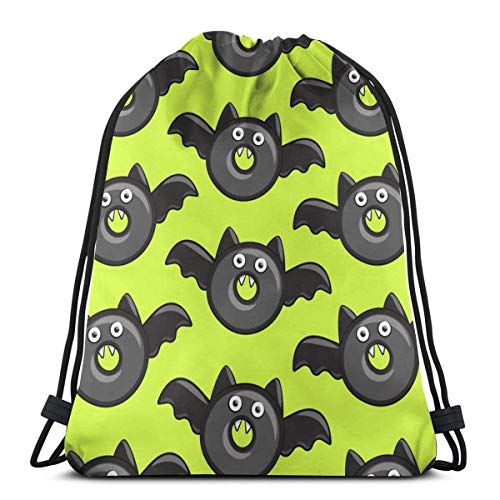Bat Vampire Halloween Donuts On Teal Drawstring Backpack Bag Gym sack Sport Beach Daypack for Girls Men & Women Teen Dance Bag Cycling Hiking Team Training 17 X 14 Inch -