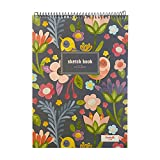 Goblin's Treasures Floral Sketchbook Creative Notebook Hardcover Spiral Notebook with Blank Paper 50 Sheets/100 Pages,8.5''X11'' (Bird and Floral)