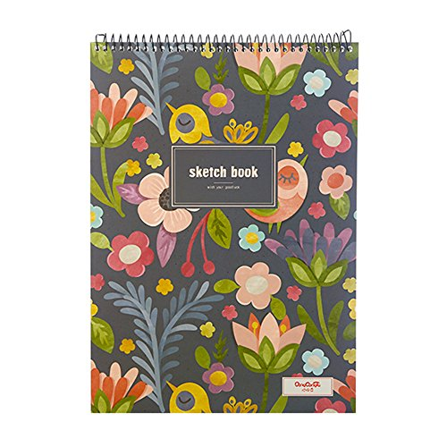 Goblins Treasures Floral Sketchbook Creative Notebook Hardcover Spiral Notebook with Blank Paper 50 Sheets/100 Pages,8.5X11 (Bird and Floral)