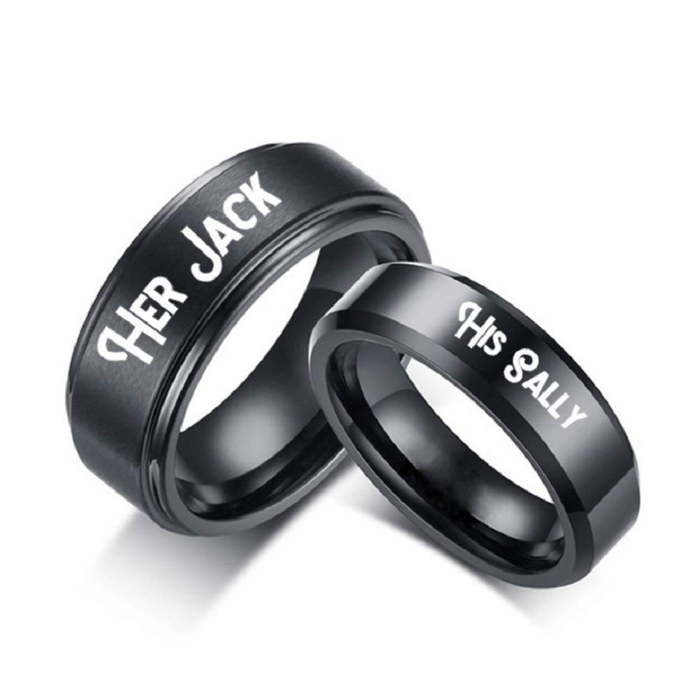 Amazon.com: His Sally Her Jack Black Stainless Steel Romantic Couple ...