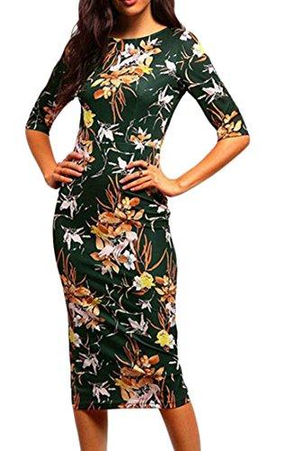 Bodycon Partito Vestito Stampa Donne Grazioso Verde Metà In Cromoncent Vita Di Tempo Flessibile Forma n8fqvxw87