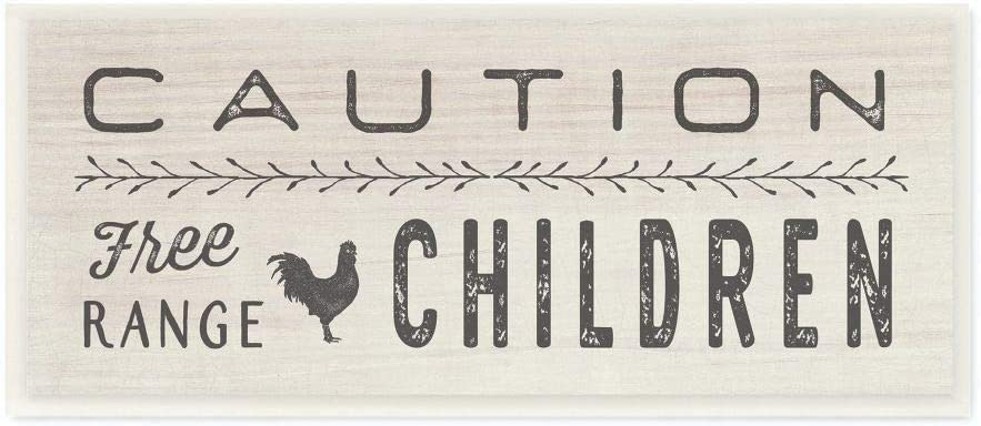 Stupell Industries Caution Free Range Children Wall Plaque Art, 7 x 0.5 x 17, Proudly Made in USA