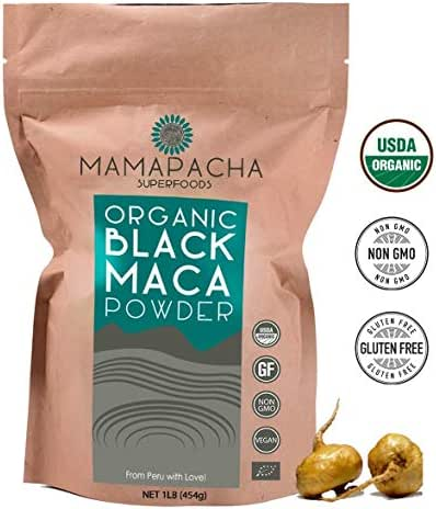 Organic Black Maca Powder Raw 1LB (454g) - 100% Premium Peruvian Raw Black Maca Root USDA Certified - Vegan and Gluten Free - Perfect to use in Smoothies,Cooking or Baking