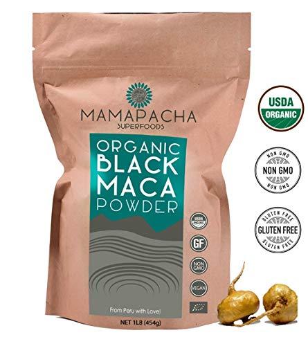 Black Maca Powder Organic Raw 1LB (454g) - 100% Premium Peruvian Raw Black Maca Root USDA Certified - Vegan and Gluten Free - Perfect to use in Smoothies,Cooking or Baking (Best Food To Increase Sperm Volume)