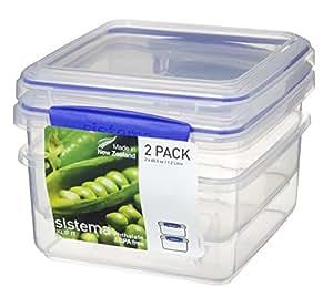Sistema Klip It 1652 Klip It Pack Lunch Plus x 2 Food Storage Container, Clear