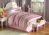 My World QS6091TW-2300 QS6091TW-2300 Annas Ruffle Quilt with Pillow Sham,Pink,Twin
