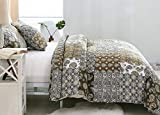 DaDa Bedding Bohemian Bedspread Set - Gallery of Roses Floral Real Patchwork - Global Cotton Quilt Olive Green Brown - Twin - 2-Pieces