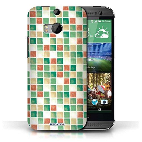 Etui / Coque pour HTC One/1 M8 / Vert/Rouge conception / Collection de Carreau Bain