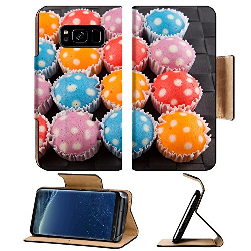 ung Galaxy S8 Flip Pu Leather Wallet Case IMAGE ID: 34202283 Popular Malaysian steamed rice polka dot muffin or apam polka dot on wicker background ()