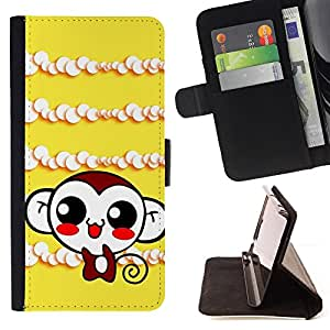 BullDog Case - FOR/Samsung Galaxy S6 EDGE / - / Cute Monkey Laugh /- Monedero de cuero de la PU Llevar cubierta de la caja con el ID Credit Card Slots Flip funda de cuer
