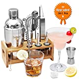 Godmorn Cocktail Set, Cocktail Making Set 14 pcs Cocktail Shaker Set 550ml Stainless Steel Bar Tool Set Bartender Kit with Wooden Display Stand Cocktail Gift Set with Cocktail Book