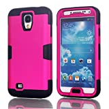 Galaxy S4 Case, LUOLNH 3-piece 3 in 1 Combo Hybrid Defender High Impact Body Armor Hard PC & silicone Case Protective Cover for Samsung Galaxy S4(Hot Pink/Black)