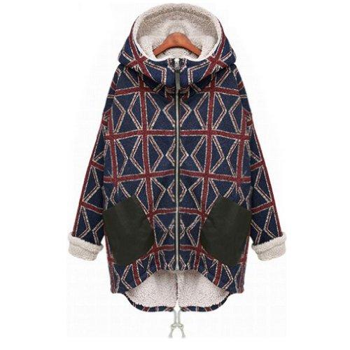 Women's Winter Hooded Plus Velvet Plaid Coat Long Section Cotton Jacket Size:xxl Cotton Velvet Coat