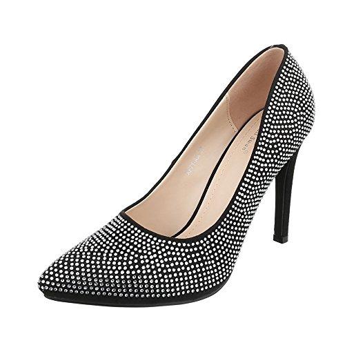 Ital-Design High Heel Damen-Schuhe Plateau Pfennig-/Stilettoabsatz High Heels Pumps Schwarz, Gr 39, Xf71-Aa-