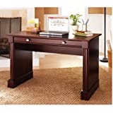 Home Office Writing Desk, Cherry Finish Wooden Writing Desk Adds Warmth and Modern Look to Your Decor Molding Column Profile Pencil Drawer with Flip-down Front Ergonomically Designed Knobs