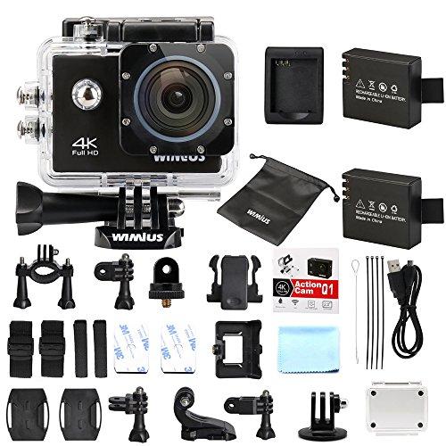 WiMiUS Actioncam 4k Action Cam HD Action Kamera Wifi Actionkamera 16MP Sport Kamera mit 2 Akkus 2.0 Zoll Wasserdichte Helmkamera 40M (Q1)