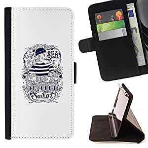 Momo Phone Case / Flip Funda de Cuero Case Cover - Marinero texto tinta blanca tatuaje capitán - Motorola Moto E ( 1st Generation )