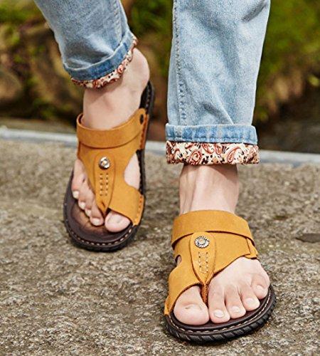 Grandi da Dimensioni Uomo Scarpe Antiscivolo Uomo di da da Pelle Uomo da in Spiaggia Estate Impermeabile Sandali Yellow Casual Pantofole FTwdqTp