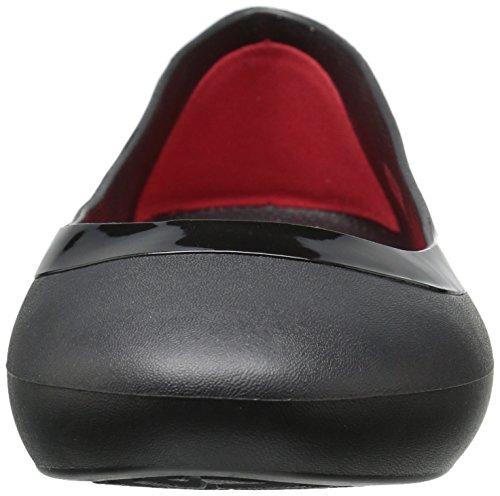 Flat Lina Shiny Black Women's Crocs 5qxfERtnw0