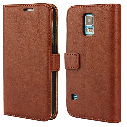 Leather Round Halter (Galaxy S 5 Case,S 5 wallet Case, Wallet Leather Folio [ Slim Fit ] [ Heavy Duty Protection ] Soft TPU Back Kickstand Case for Samsung Galaxy S 5 i9600 with Magnetic Closure and Wrist Strap - Brown)