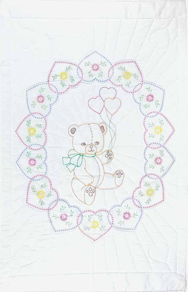 White Jack Dempsey Needle Art 406042 Crib Quilt 40-Inch by 60-Inch Top Now I Lay Me Down to Sleep