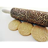 Rolling pin PAISLEY. Wooden embossing rolling pin with Oriental flowers. Embossed cookies. Pottery. Birthday gift. Gift for mother