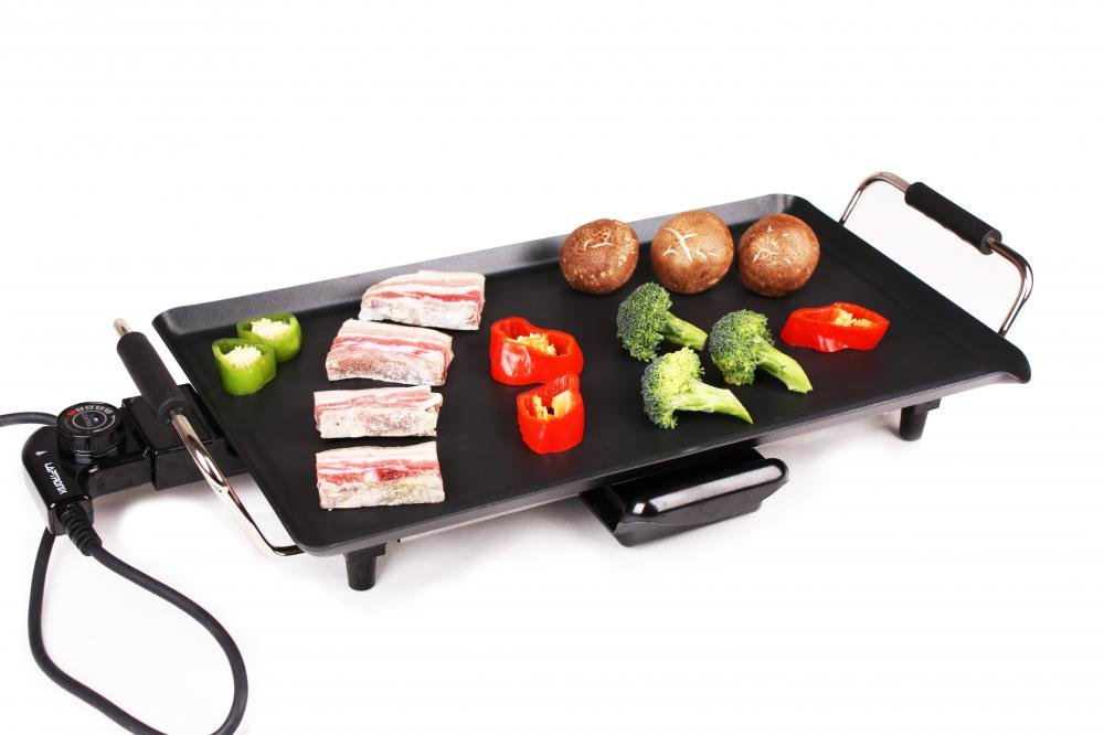 Electric Teppanyaki Table Top Grill Griddle BBQ Hot Plate Camping Festival Cook [Energy Class A+] YesUK