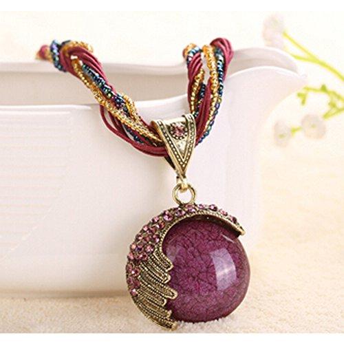 [Elakaka Bohemian Retro Big Alloy Chain(Purple)] (Homemade Greek Costumes For Women)