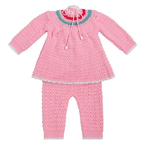 Superminis Baby Girl High Neck Dori Closure Woolen Frock Style Dress with Pyjami, Cap and Booties, 4pc Set (Pink, 6-12 Months)