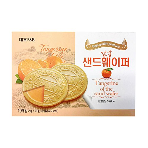 Korean Premium Thin and Crispy Cream Filled Wafers 90g (Tangerine, 1 Pack)
