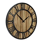 Red Oak 16-Inch Rustic Vintage Metal & Wood Silent Non-Ticking Decorative Wall Clock with Large Roman Numerals For Sale